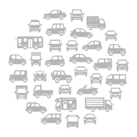 Runde Symbolgalerie verschiedener Autos - graue Silhouette -