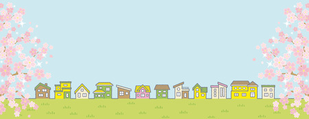 Illustration of the vernal rural scenery with the cherry blossoms - row of houses and sky and grassy plain - for more landscape format