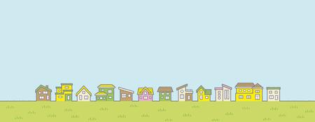 Ilustración del paisaje rural primaveral - hilera de casas y cielo y llanura cubierta de hierba - para un formato más horizontal