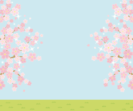 Illustration of the vernal scenery with the cherry blossoms - sky and grassy plain - rectangle banner version