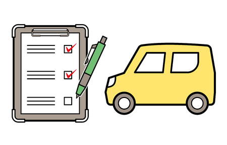 kei car and checklist and ballpoint
