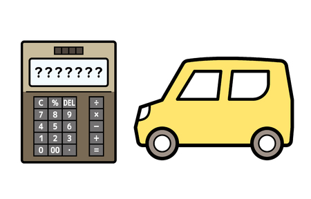 kei car and electronic calculator Illustration