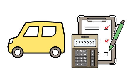 kei car and electronic calculator and checklist Illustration