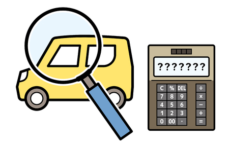 kei car and magnifying glass and electronic calculator Ilustrace