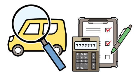 kei car and magnifying glass and electronic calculator and checklist Illustration