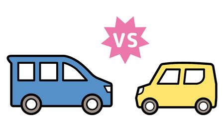 kei car vs ordinary vehicle - face to face - Reklamní fotografie - 124000977