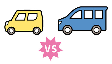 kei car vs ordinary vehicle - same sense Ilustrace