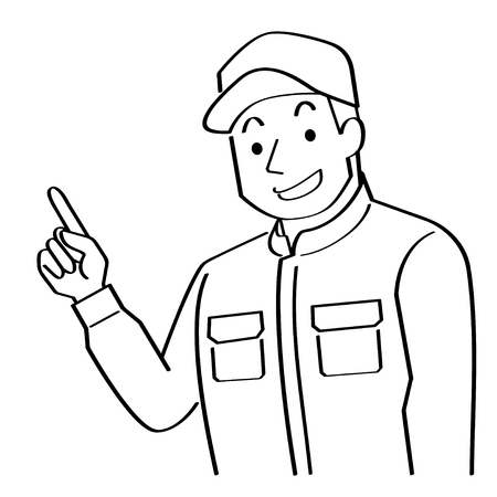 illustration of mechanic who explains while pointing to the finger. This young man wears a cap and Coveralls.-felt-tip pen writing style line drawing-