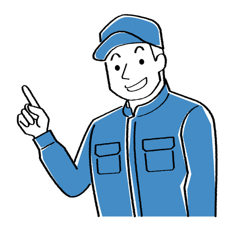 illustration of mechanic who explains while pointing to the finger. This young man wears a cap and Coveralls.-hand writing style black line drawing and rough coloration- Ilustração