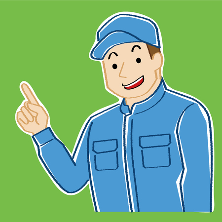 illustration of mechanic who explains while pointing to the finger. This young man wears a cap and Coveralls.-hand writing style color line drawing and rough coloration, green background co Lor- Illustration