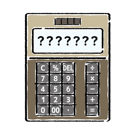 electronic calculator whose screen is question mark - hand writing style -