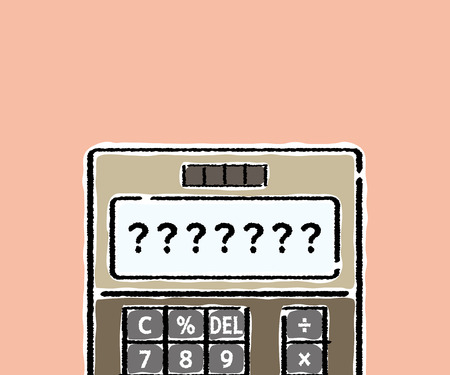electronic calculator whose screen is question mark - hand writing style - rectangle banner version Standard-Bild - 122054791