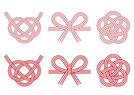 Design of three Mizuhiki-decorative Japanese cord made from twisted paper-(only line drawing) Illustration