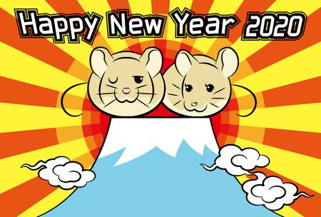 2020 new years greeting card for sunrise and mountain / greetings and rat 向量圖像