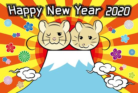 2020 new years greeting card for sunrise and mountain / greetings and rat and flower 版權商用圖片 - 126267863