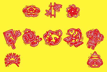 new years greeting card of woodblock print style  Japanese zodiac - Rat, red stamp on yellow background