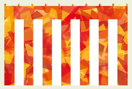 Red and white curtain for Landscape format  cellophane style