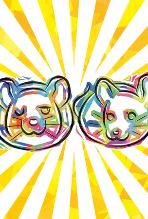 new years greeting card of funky two rats ,yellow radial background,Japanese zodiac, for Portrait format