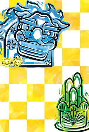 card of funky Shishimai and Kadomatsu,yellow plaid background   Japanese zodiac - Rat, for Portrait format  Illustration