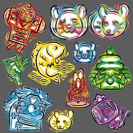 new years objects of cellophane style icon for Japanese zodiac - Rat, gray background Ilustrace