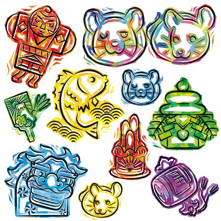 new years objects of cellophane style icon for Japanese zodiac - Rat, white background