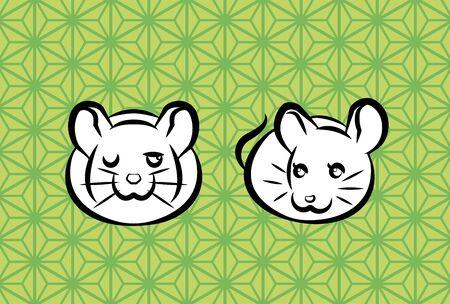new years greeting card of couple rats, hemp leaf pattern background Illusztráció
