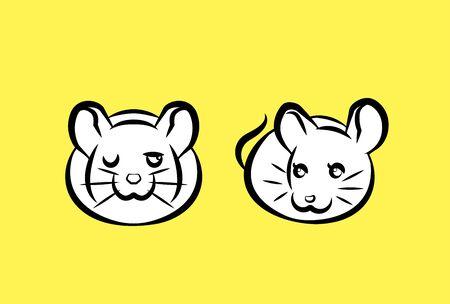 new years greeting card of couple rats, plain yellow background  Illusztráció