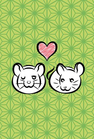 new years greeting card of lovely couple rats, hemp leaf pattern background  Ilustrace