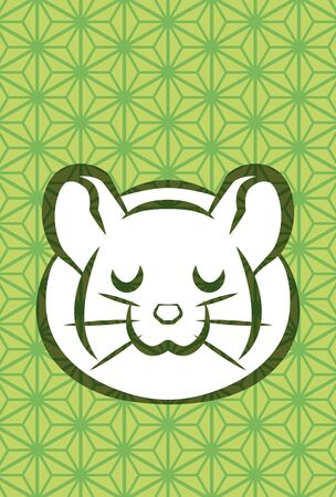 new years greeting card of rat which closed eyes, hemp leaf pattern background Ilustrace