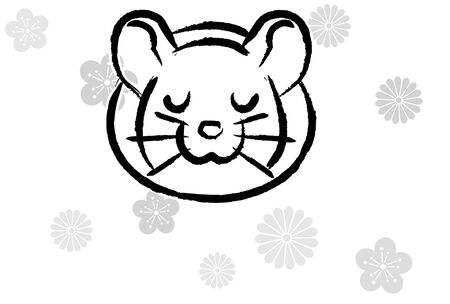 penmanship style new years greeting card of rat which closed eyes, background of monotone flower silhouette