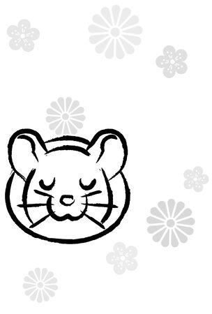penmanship style new years greeting card of rat which closed eyes, background of monotone flower silhouette Stock fotó - 128031834