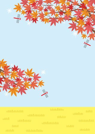 Illustration of the autumn rural scenery with Japanese maple and red dragonfly- sky and rice field - for horizontal writing of portrait format Ilustração