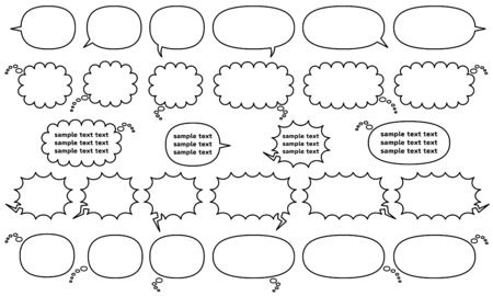 comic speech bubbles for write horizontally created compound shape - only line drawing - talk and think and cry Stock fotó - 129623492