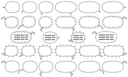 comic speech bubbles for write horizontally - dashed line version - talk and think and cry