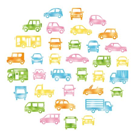 round icon gallery of various car silhouette - watercolor style created gradient mesh - Иллюстрация