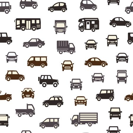 seamless background of various car icon - silhouette - chic color Иллюстрация