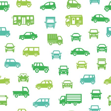 seamless background of various car icon - silhouette - ecology color