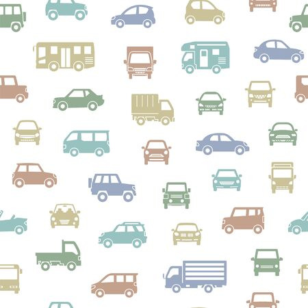 seamless background of various car icon - silhouette - modern