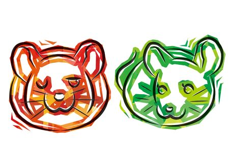couple rats of cellophane style - red and green - Illustration