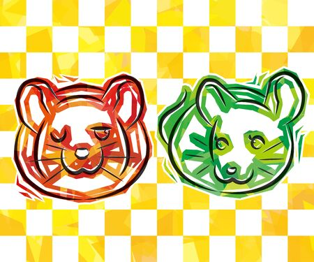 couple rats of cellophane style - red and green - yellow plaid background