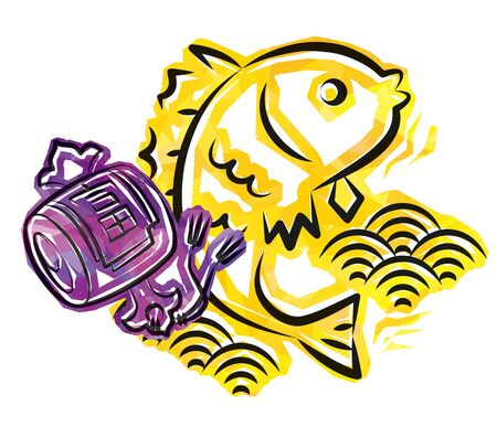 Japanese New Years image of sea bream and Uchide-no-kozuchi - cellophane style - meaning of the kanji is riches 일러스트