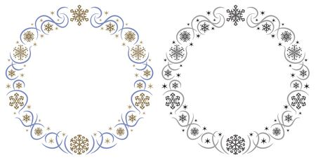 ornament circle frame of gorgeous snowy crystals - precise circle -