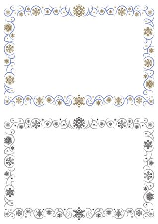 ornament rectangle frame of gorgeous snowy crystals - Landscape format -