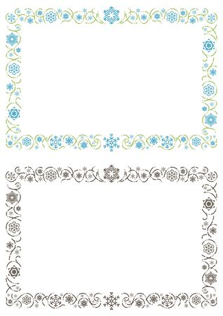 ornament rectangle frame of stylish snowy crystals - Landscape format -