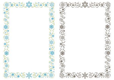 ornament rectangle frame of stylish snowy crystals - Portrait format - Illusztráció
