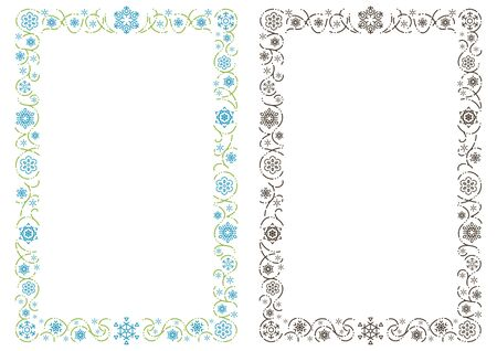 ornament rectangle frame of stylish snowy crystals - Portrait format - Illustration