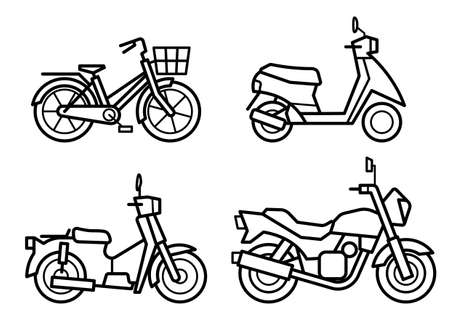 icon set of motorcycle and bicycle - only line drawing -