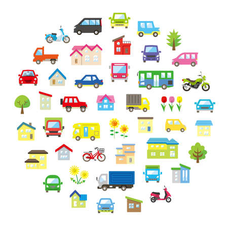 round icon gallery of house and car and bike and plant - only color -