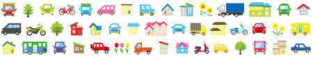 icon set of house and car and bike and plant - only color - Horizontally long placement 向量圖像