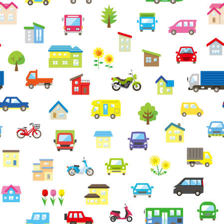 seamless pattern of house and car and bike and plant - only color - 向量圖像